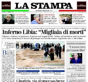 La prima pagina de La Stampa agli albori del colpo di stato in Libia